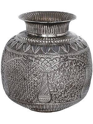 Intricately Carved Superfine Puja Kalasha in Silver Hue