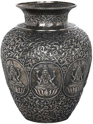 Superfine Ashtalakshmi Handmade Vase in Silver Hue
