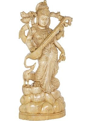 The Very Elegant Standing Goddess Saraswati - Large Size