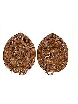 Lakshmi Ganesha On Leaf Wall Hanging