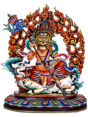 Tibetan Buddhist Deity Kubera on a Snow Lion (Made in Nepal)