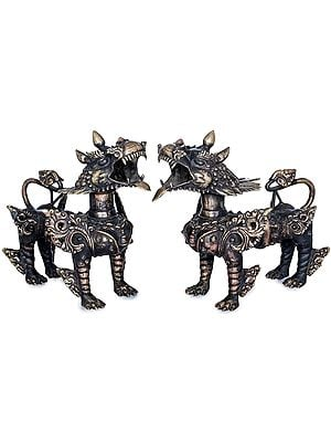 Nepalese Temple Lions Pair - Made in Nepal