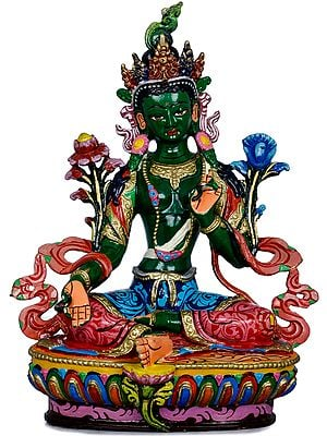 Tibetan Buddhist Goddess Green Tara in Green Hue - Made in Nepal