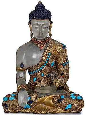 Earth Touching Buddha Carved In Crystal - Tibetan Buddhist (Made in Nepal)