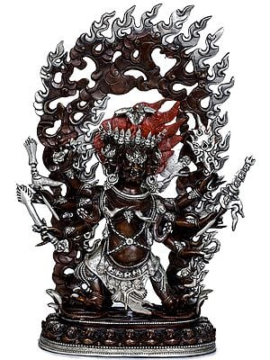 Three Headed Hayagriva With Big Fiery Aureole -Tibetan Buddhist (Made in Nepal)