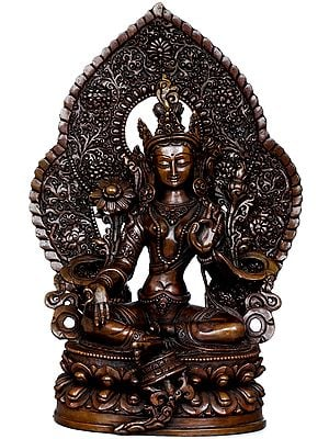 Seated Green Tara, Under A Densely Engraved Aureole