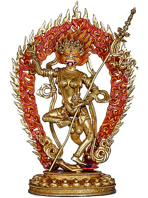 Tibetan Buddhist Simha Dakini (Lion-Headed Yogini) - Made in Nepal