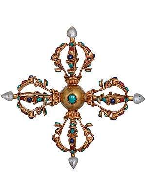 Tibetan Buddhist Crystal-Tipped Double Dorje (Vishva-Vajra) Made in Nepal