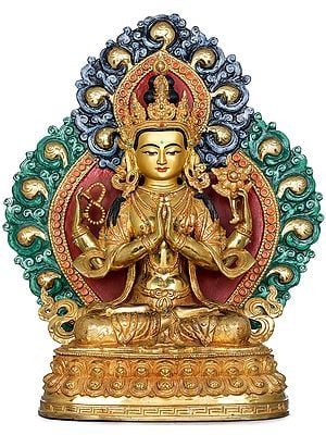 Superfine Tibetan Buddhist Deity Four Armed Avalokiteshvara (Chenrezig) Made in Nepal