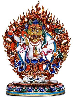 Tibetan Buddhist Six Armed White Mahakala - Made in Nepal