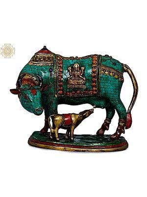 Cow and Calf - Lakshmi Ganesha Carved On Saddle