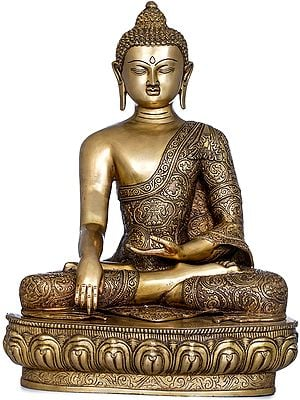 Buddha Shakyamuni in Bhumisparsha Mudra Wearing Fully Carved Robe - Tibetan Buddhist