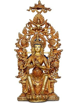 Tibetan Buddhist Deity Maitreya Buddha  Seated on Six-ornament Throne of Enlightenment (Made in Nepal)