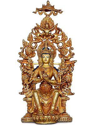 Tibetan Buddhist Deity Maitreya Buddha  Seated on Six-ornament Throne of Enlightenment (Made in Nepal)