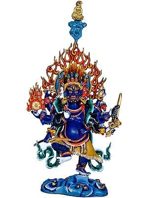Eight Armed Mahakala - Made in Nepal Tibetan Buddhist Deity