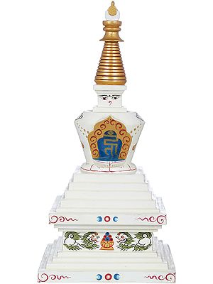 (Tibetan Buddhist ) Svayambhunath Votive Stupa - Made in Nepal