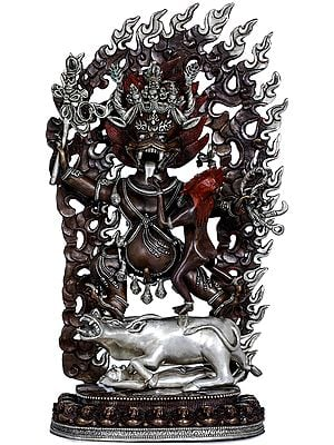 Dharmaraja Yama with Yami - Made in Nepal Tibetan Buddhist Deity