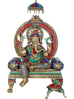 Lord Ganesha Seated On Royal Cushion Throne - Large Size
