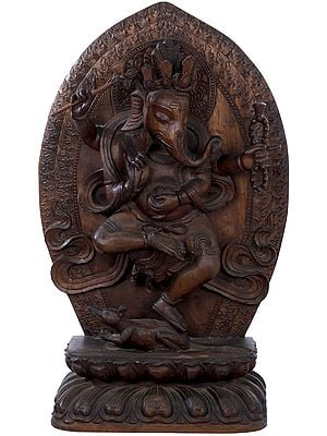 Ganesha in Nepalese Style Dancing On His Rat - Made in Nepal