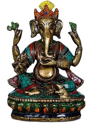 Inlay Statue Of Ganesha in Nepalese Style