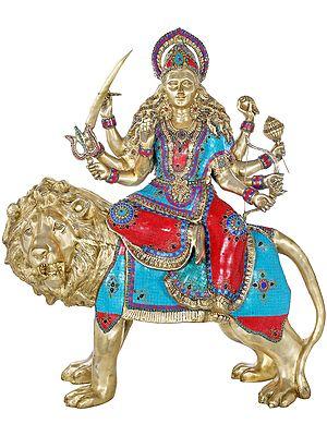 Large Ashtabhuja-dhari Simhavahini Goddess Durga
