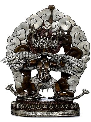 Wrathful Garuda Standing On Serpents and Serpents in His Beak - Made in Nepal