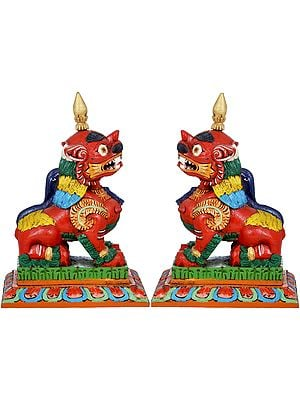 Pair Of Nepalese Temple Lions - Made in Nepal