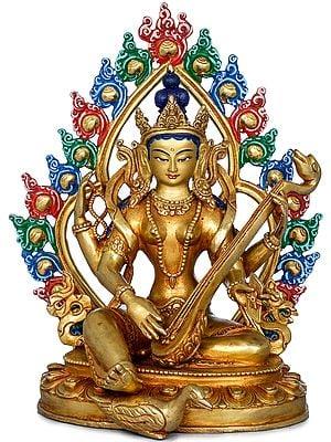 Goddess Saraswati Plays Veena - Made in Nepal