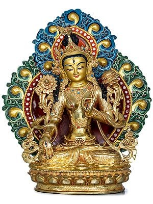 Superfine Tibetan Buddhist Seven Eyed Goddess White Tara - Made in Nepal