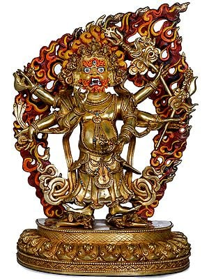 Superfine Six Armed White Mahakala - Made in Nepal Tibetan Buddhist Deity