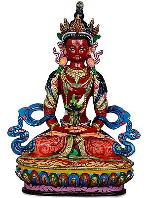 Tibetan Buddhist Amitabha Buddha as Amitayus With The Vase of Long Life - Made in Nepal