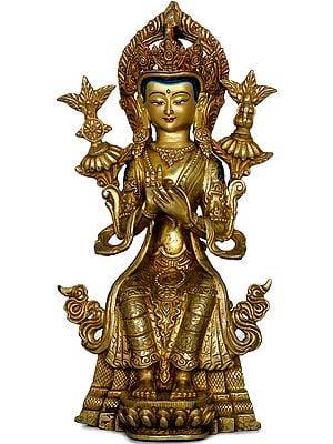 Maitreya Buddha seated on Throne - Tibetan Buddhist Deity (Made in Nepal)