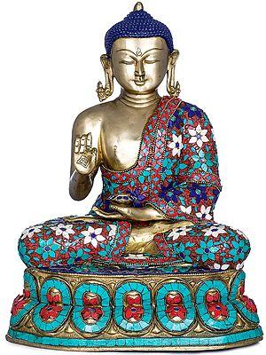 Preaching Buddha Wearing a Decorated Robe - Tibetan Buddhist