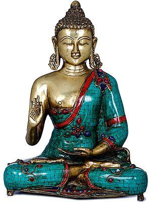 Tibetan Buddhist Lord Buddha in Vitark Mudra (Preaching Buddha)