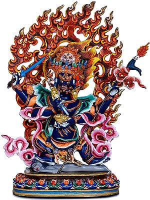 Four Headed Mahakala - Made in Nepal Tibetan Buddhist Deity