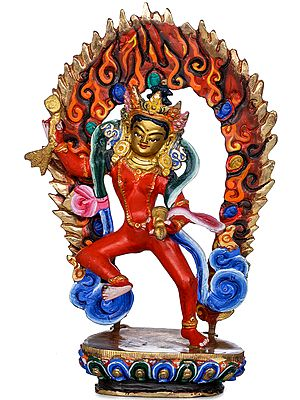 Tibetan Buddhist Yogini Machig Labdron with Damaru and Bell - Made in Nepal
