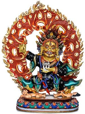 Two Armed Kajupa Mahakala -Tibetan Buddhist Deity (Made in Nepal)