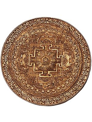 Mandala Wall Hanging Plate With Ashtamangala at the Centre - Made in Nepal
