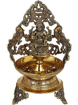 Goddess Lakshmi Large Diya With Peacock Aureole