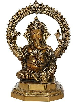 Seated Ganesha With Kirtimukha and Lotus Petals Aureole
