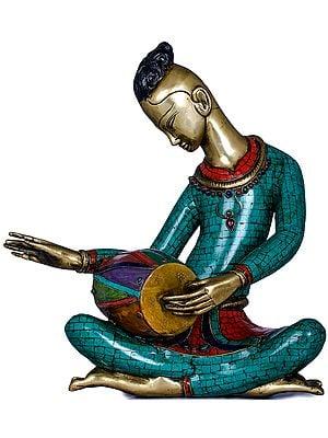 Musician Playing Dholaka (Drum)