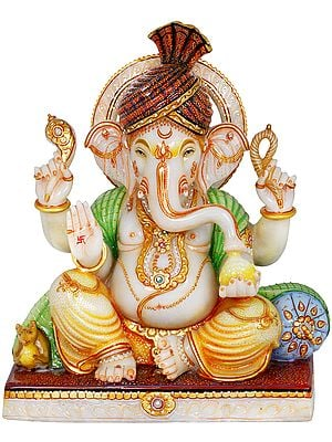Fine Turbaned Ganesha Wearing Yellow Dhoti