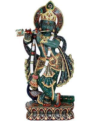 Murli Krishna Carved in Jade Gemstone