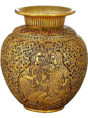 Hand Carved Pot With Figures of Radha Krishna on Both Sides