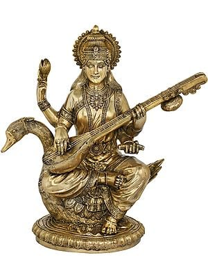 Veena-Vadini Devi Saraswati Seated on Her Swan
