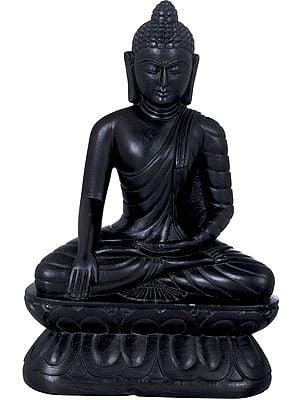 Bhumisparsha Buddha Carved in Stone- Tibetan Buddhist
