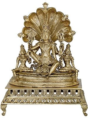Superfine Bhagawan Vishnu Seated on Sheshanaga With Devi Lakshmi and Bhudevi