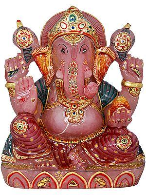 Ganesha Carved in Rose Quartz