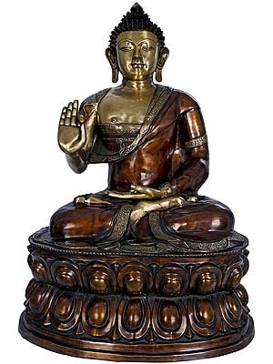 Large Size Preaching Buddha Seated on Double Lotus -Tibetan Buddhist