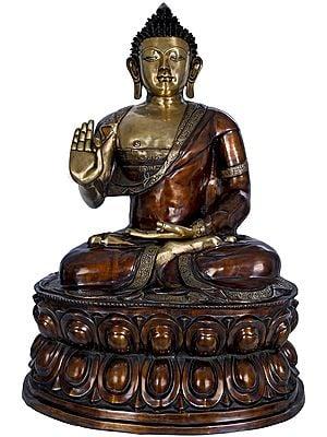 Large Size Preaching Buddha Seated on Double Lotus -Tibetan Buddhist